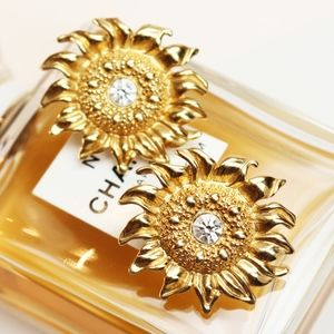 Jewelry - SUNFLOWER CRYSTAL AND GOLD EARRINGS